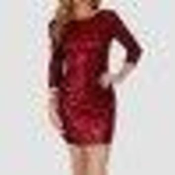 New Women 3/4 Sleeve Sequin Summer Party Mini Dress Stretch Bodycon Dress R1
