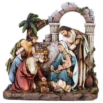 "8.5"" Nativity Scene Fig W/Holy Set of 2"