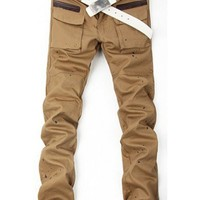 Men Individual Big Pocket Design Korean Style Slim Casual Long Pants Khaki Cotton S/M/L/XL/XXL@WH0139k $18.66 only in eFexcity.com.