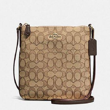 CHEN1ER New Authentic Coach F58421 NS Crossbody Shoulder Bag Messenger Purse Khaki/Brown