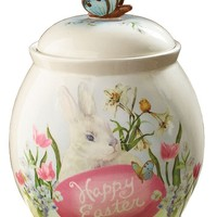 "Happy Easter Bunny Rabbit 9 1/2"" Tall Cookie Storage Jar"
