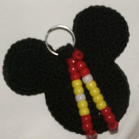Holiday Special Mickey Mouse Crocheted Head Key Chain with Dangling Beads