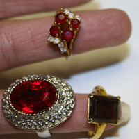 Vintage Lot Costume Jewelry Rhinestone Rings 3 by patwatty on Etsy