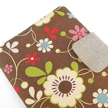Kindle Fire Cover Nook Simple Touch Cover iPad Mini Cover Kobo Cover Case Retro Daisies Daisy Trees Garden Brown eReader