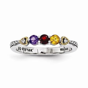 Sterling Silver & 14k Three-Stone And Diamond Mother's Ring