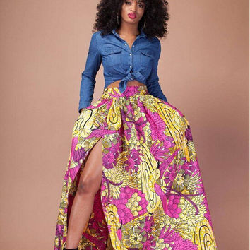 2016 Hot Sale Exotic designer casual skirt high waist maxi long print skirt SC103