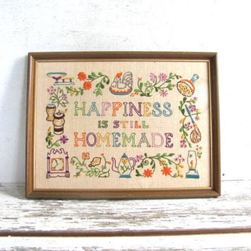 vintage Happiness is still Homemade // colorful framed embroidery needlepoint Picture