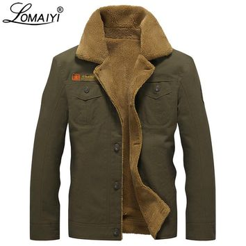 LOMAIYI Hi-Q Men's Cashmere Winter Jacket Men Warm Pashm Coat Soft Fleece Lining Parka Male Army Military Denim Jackets BM093