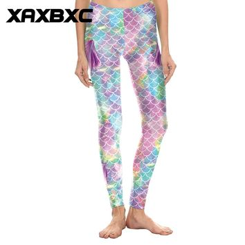 XAXBXC 1819 Sexy Femme Pencil Pant Rainbow Mermaid Fins Scale Printed  Elastic Slim Fitness Workout Push Up Women Leggings