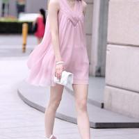 Pink Sleeveless Ruffled Maternity Dress