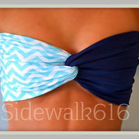Mint Navy Chevron Bandeau Top Spandex Bandeau Bikini Swimsuit