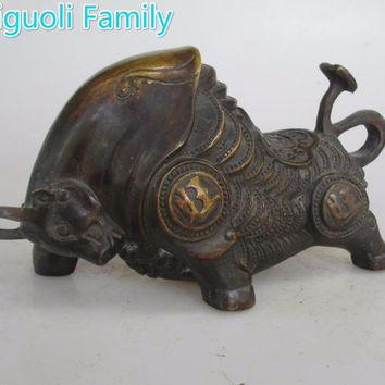 AAA+Rare Chinese Old Copper Carved Money Cow/Bull Statue/Metal Sculpture Craft For Home Decoration Antique Collection