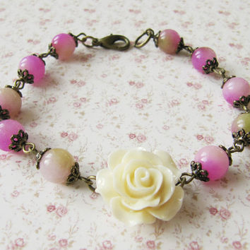 Romantic flower bracelet pink with green vintage style handmade bridesmaid gift for her Europe