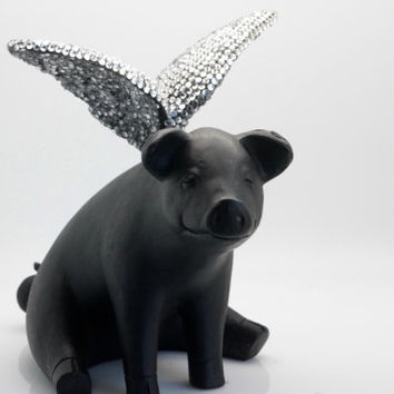 Flying Pig with Swarovski Crystal Wings - Sitting.   Winged Pig.