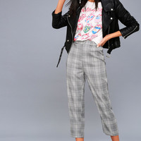 Good Girls Go Plaid Black and White Plaid Cropped Pants