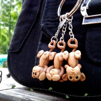 Three Wise Monkeys Cute Keychain--Handmade Polymer Clay, Hear No Evil-See No Evil-Speak No Evil