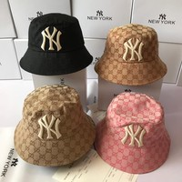 """New York x Gucci"" Unisex Retro Fashion GG Letter Embroidery Fisherman Cap Couple Bucket Hat Sun Hat"