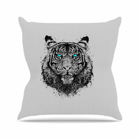 "BarmalisiRTB ""TIger Gaze"" Black Gray Throw Pillow"