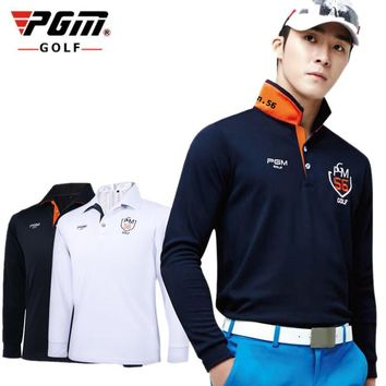 PGM Brand Mens Outdoor Fit Polomens Golf Polo Shirts Quick Dry Long Sleeve Golf T-shir