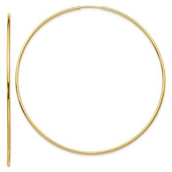 14k Yellow Gold Endless Hoop Earrings (1.2mm Tube), Extra Large Sizes