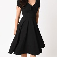 Retro Remake 1940s Style Black Short Sleeve V Neck Skater Circle A Line Flare Casual Midi Dress - Sold Out