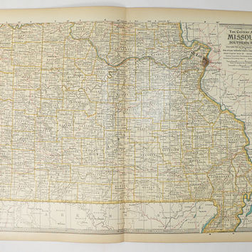 Southern Missouri Map 1899 Vintage Map of Missouri, US Geography Gift for Friend, Antique MO Map, Wedding Gift for Couple, 1899 Century Map