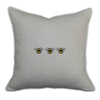 Natural Linen Three Bees Cushion