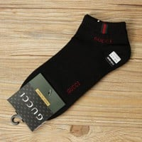 FREE SHIPPING GUCCI trend of men's socks Four Seasons deodorant socks cotton sports socks Black