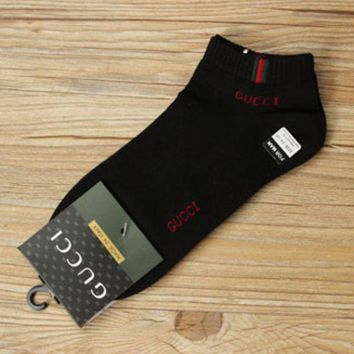 DCCK GUCCI trend of men s socks Four Seasons deodorant socks cotton sports socks Black FREE SHIPPING