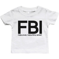 Graphic Snap-on Style Baby Tee, Infant Tee - FBI