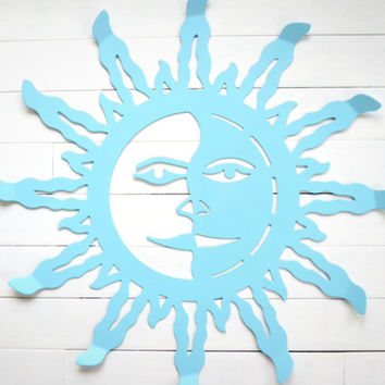Metal Sun Wall Hanging / Wall Decor / Outdoor Decor / Outdoor Metal Wall Art / Outdoor Decor Garden Art / Pool Decor / Aqua Home Decor /