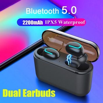 BT 5.0 Noise Cancelling Waterproof Earbuds Charging Box/Power Bank-Fast US Shipping!
