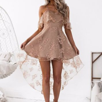 Summer New Lace Mesh Straps Dress Women Apricot