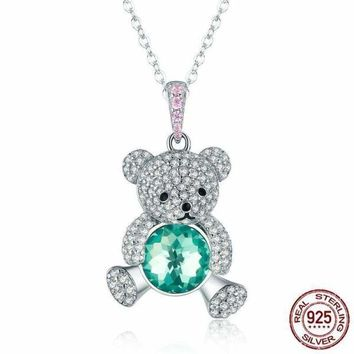 Trendy 925 Sterling Silver Pendant Crystal Cute Bear Green CZ Necklace