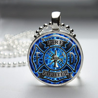 Firefighter Fire Fighter  Round Glass Pendant Necklace