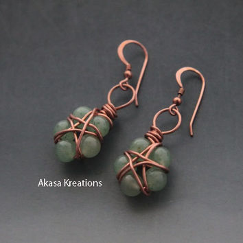 Jade Pentacle Wiccan Earrings Copper Wire Dainty Small Subtle Spiritual Pagan Dreams Luck Healing Tranquility Protection