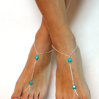 Blue and Silver Chained Barefoot Sandals