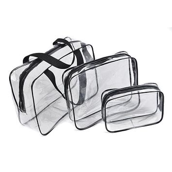 Travel toiletry women Transparent cosmetic bag organizer necesser female suitcase for makeup necessaire make up vanity with case