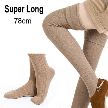 Long Knit Legging 78cm Leg Warmer Boot Socks Knee High Foot Socks Women Winter Stockings = 1958189252