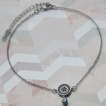 Rhodium Layered Women Greek Eye Charm Anklet , with Sapphire Blue Micro Pave, by Folks Jewelry