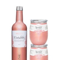 Winesulator + 2 Uncork'd XL Wine Glasses/Lid | GLITTER PEACH