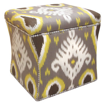 Jonash Storage Ottoman, Gray/Yellow Ikat, Ottomans