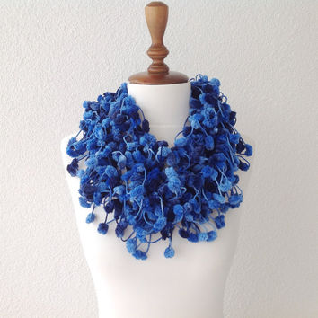Blue Cute Pom Pom Long Mulberry Scarf Christmas Gift