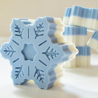 Blue Snowflake Peppermint Natural Soap - handmade soap, glycerin soap, vegan soap, holiday soap, scented soap, gift soap