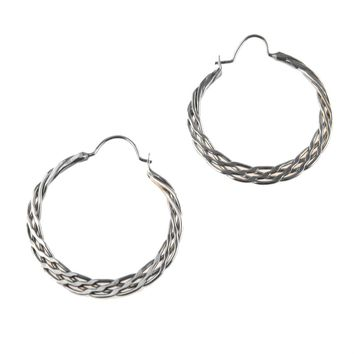 Braided Sterling Silver Hoop Earrings, Vintage, 1930s to 1980s