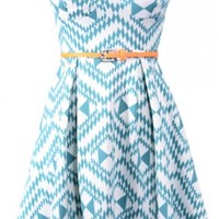 The Teal Print Belt Dress - 29 N Under