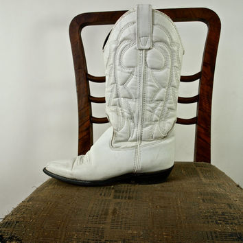 Vintage Leather Boots Country Wedding White Rockabilly Cowboy/Cowgirl Boots size 6.5