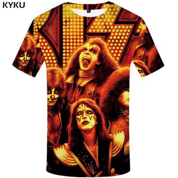 KYKU Rock Band T shirt Kiss Clothes  Tshirt  Tees  Tops  Clothing Men 3d T-shirt T-shirts Mens Ftness New