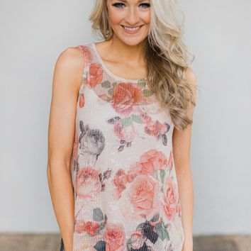 Knit Floral Tank Top- Pink