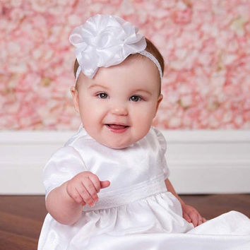 Baby White Flower Headband ANGELICA  Dedication Baptism Christening  Organza Rhinestone Lace